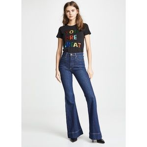 Alice + Olivia Beautiful High Rise Bell Jeans in Noir